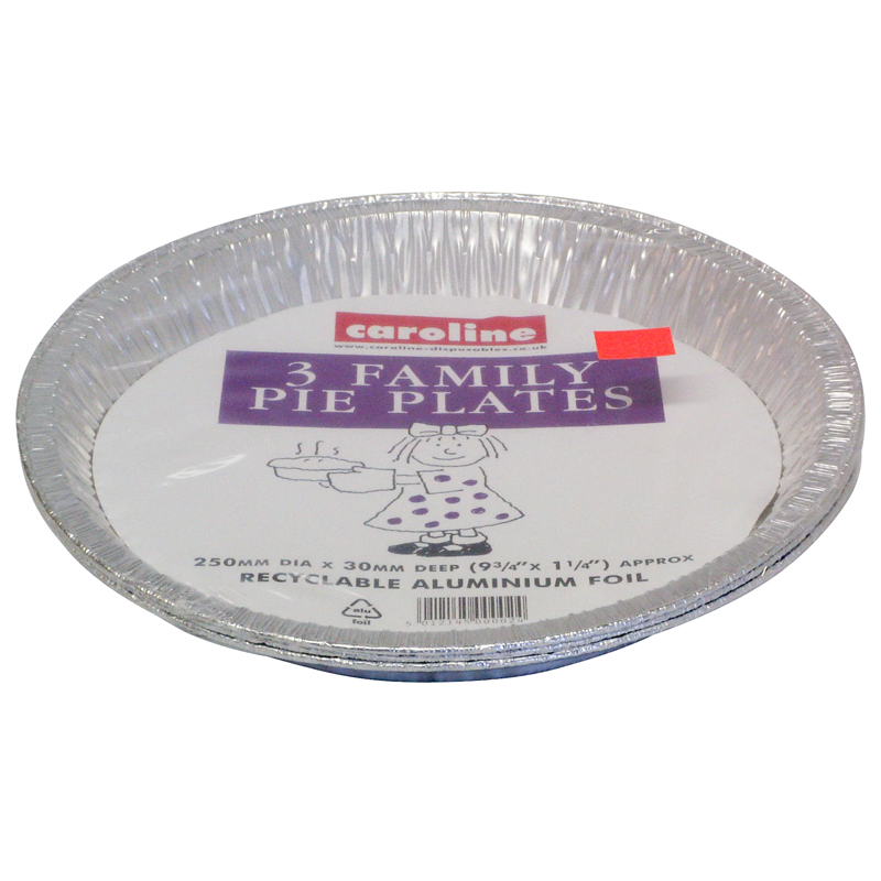 Caroline Disposable Family Pie Plates, 250x30mm, Pack of 3 (1025)