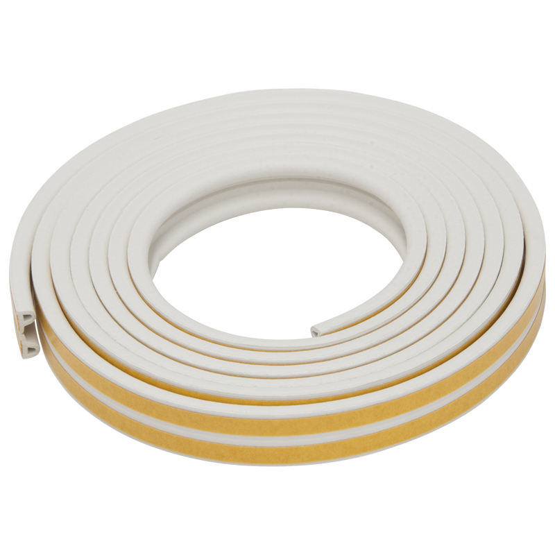 Exitex P Strip Rubber Draught Excluder, 5 Metres, 2-5mm, White