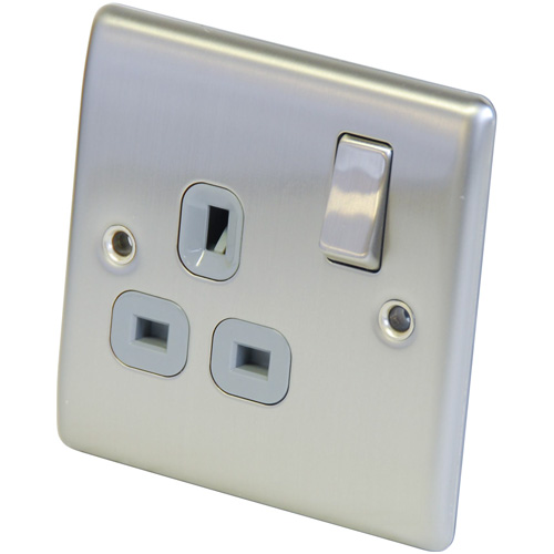 Brushed Stainless Steel 1 Gang Double Pole 13Amp Socket with Swi