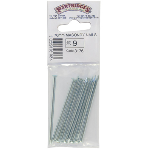 Zinc Plated 70mm Masonry Nails - Ave Qty 9 (3176)