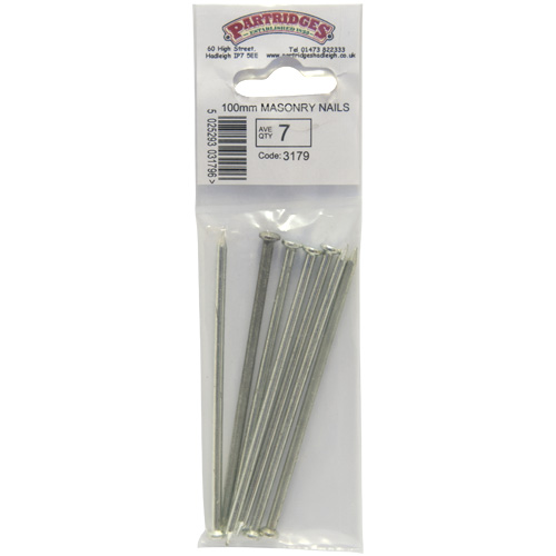 Zinc Plated 100mm Masonry Nails - Ave Qty 7 (3179)