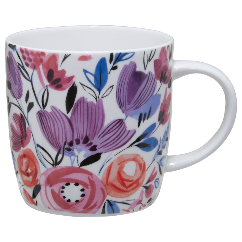 KitchenCraft China Barrel Mug, 425ml, Modern Rose