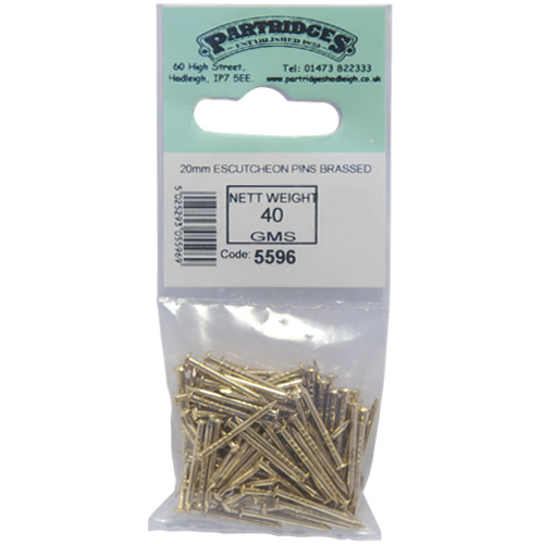 Brassed 20mm Escutcheon Pins - 40g Bag (5596)