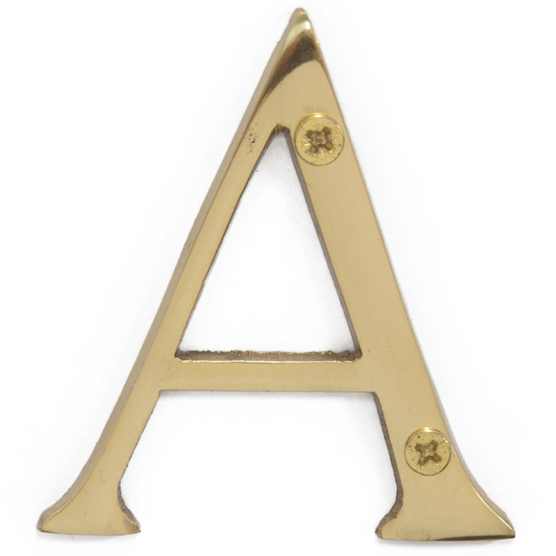 Polished Brass 3 inch House Letter A (5810)