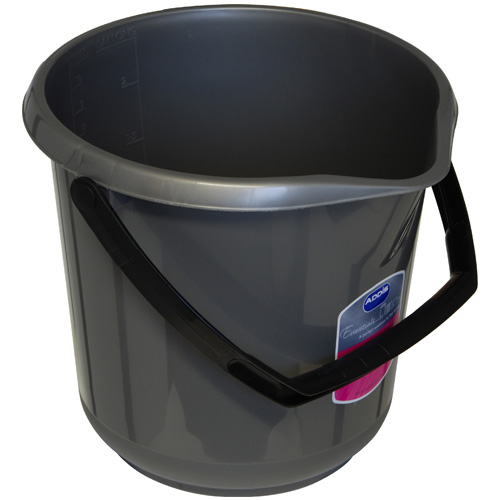 Addis Essentials 10 Litre Plastic Bucket - Silver Effect