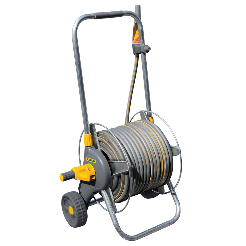Hozelock 60M Pro Hose Cart with 50M Hose and Spray Gun (2436)