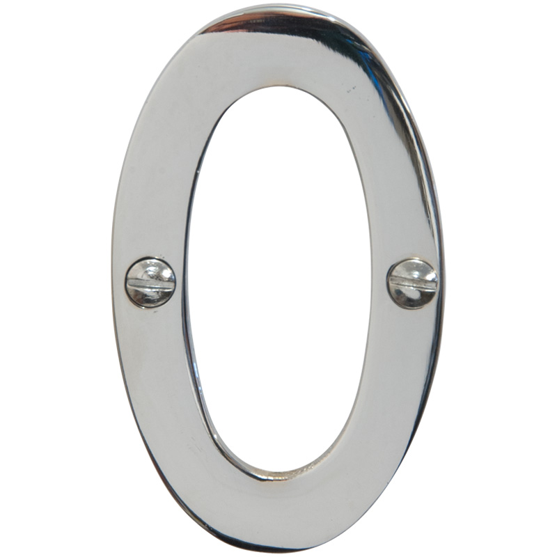 Chrome 3 inch House Number 0 (6740)