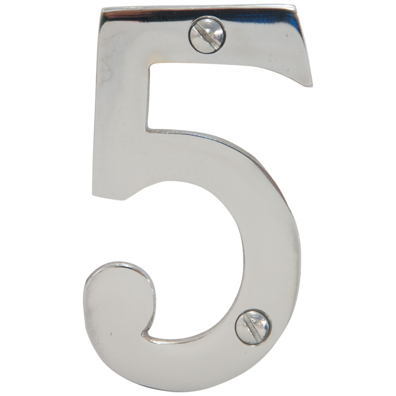 Chrome 3 inch House Number 5 (6745)