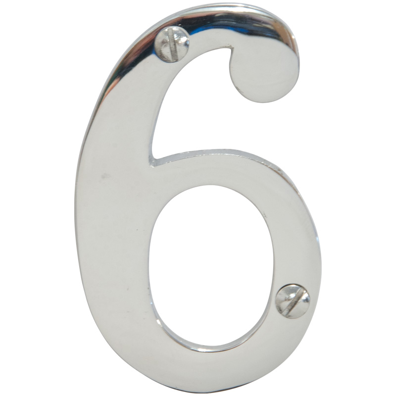 Chrome 3 inch House Number 6 (6746)