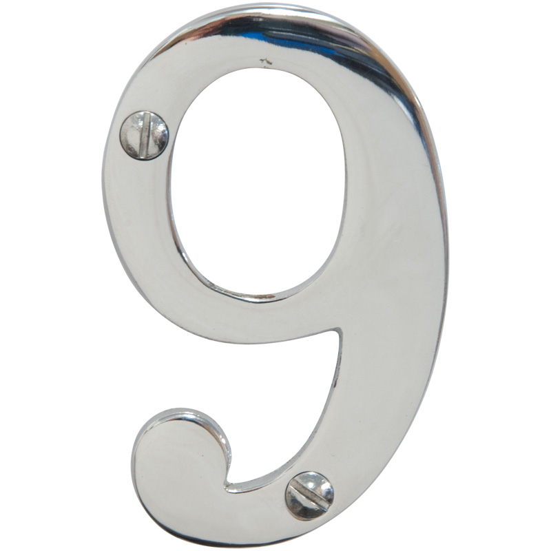 Chrome 3 inch House Number 9 (6749)