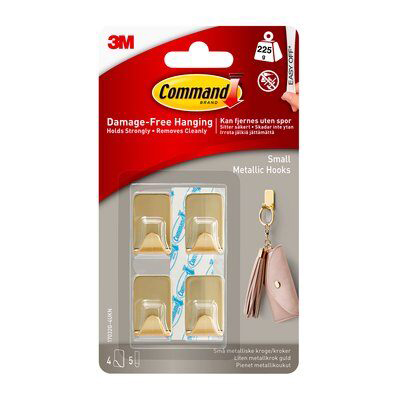 3M 4 Small Metallic Hooks With Command Strip - Brass Look