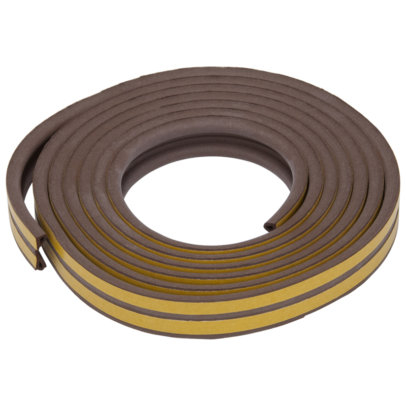 P Profile Strip Draught Excluder, 5 Metres, 2-5mm, Brown