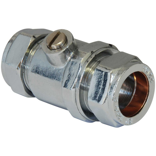 Chrome Full Flow Isolating Valve - 22mm