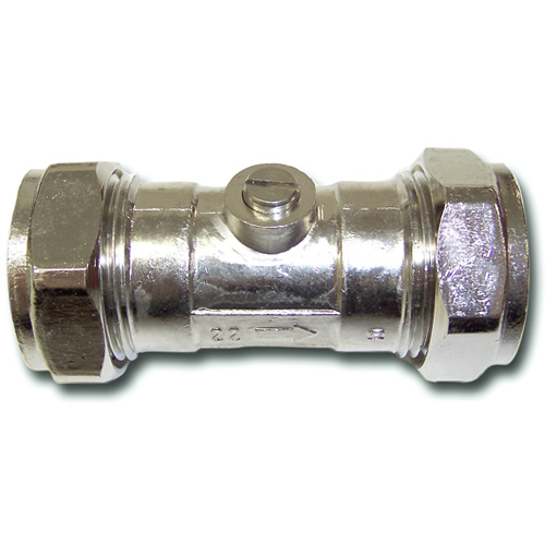 Chrome Isolating Valve - 22mm