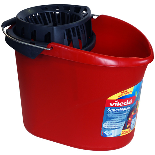 Vileda Bucket With Power Press Removable Wringer - Red
