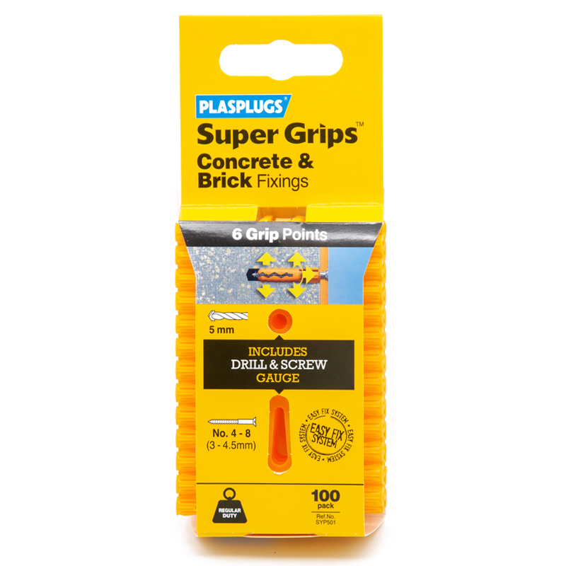 Plasplugs Super Grips Concrete and Brick Fixings, 5mm, Pack of 100