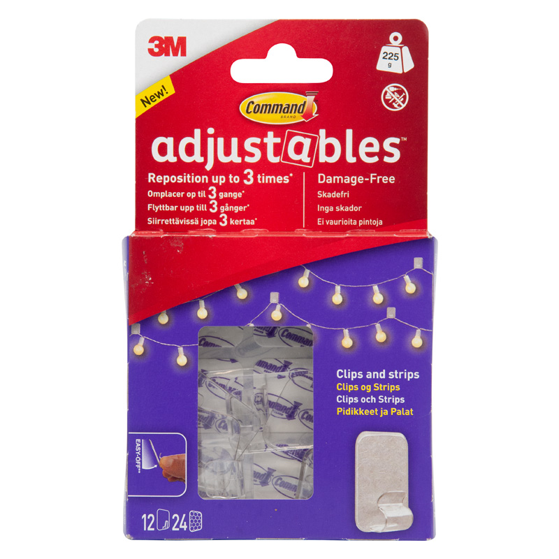 3M Command Adjustables Clips and Strips (Pack of 12)
