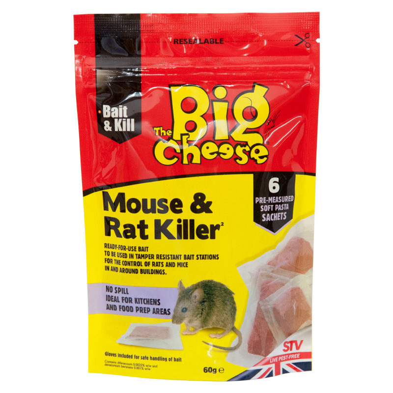 STV The Big Cheese Mouse and Rat Killer Pasta Bait, 6 x 10g Sachets