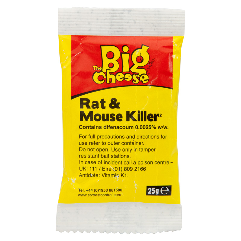 STV The Big Cheese Rat And Mouse Killer Grain Bait, 6 x 25g Sachets