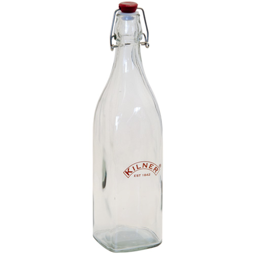Kilner Preserving Bottle - Square Glass with Clip-Top Lid 0.55L