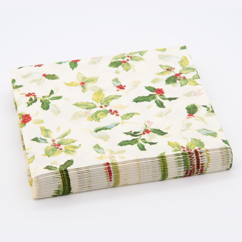 Christmas Holly 3 Ply Paper napkins, Pack of 20