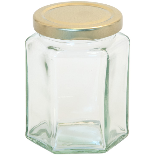 12oz Hexagonal Glass Jam Jar With Screw Top Lid Partridges