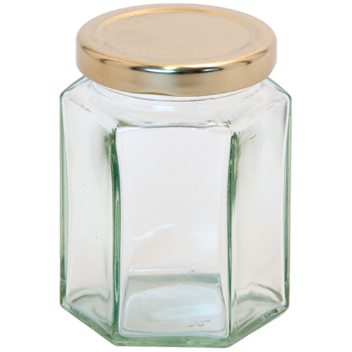 8oz Jam Jar With Screw Top Lid - Hexagonal Glass Jam Jar