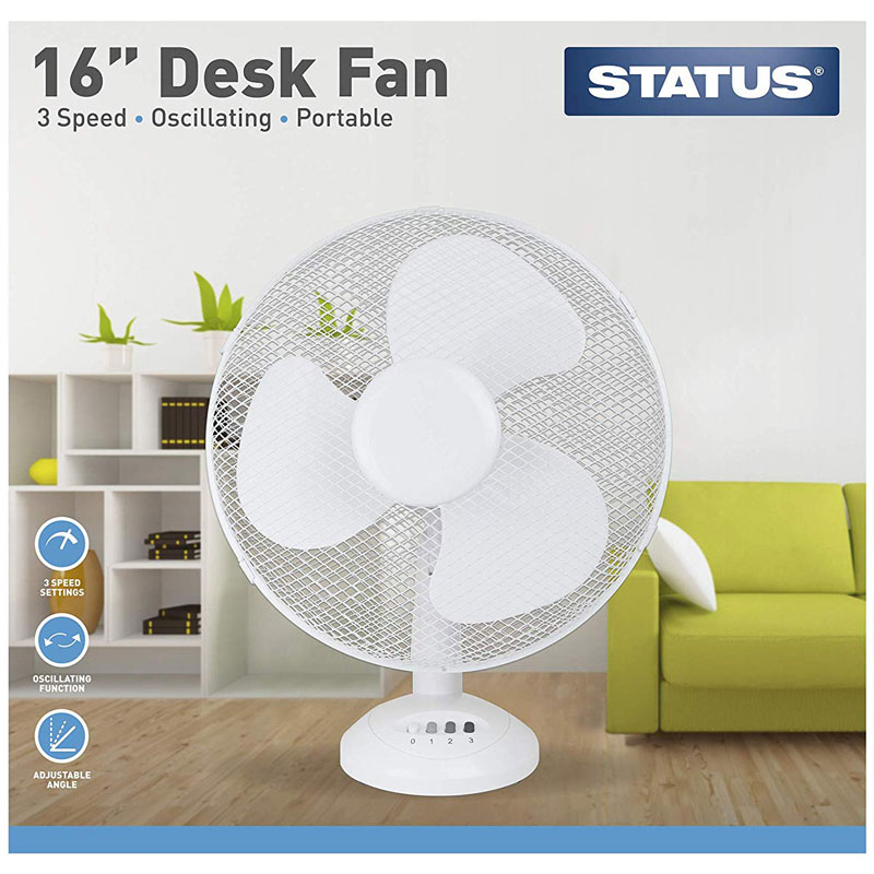 Status 16 inch Desk Fan, White
