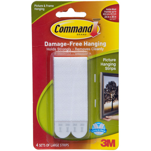 3M Picture And Frame Hanging Command Large Strips (Pack of 4) - Click Image to Close
