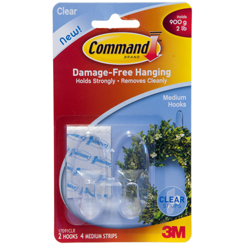 3M Clear Medium Hooks With Command Strips (Pack of 2)