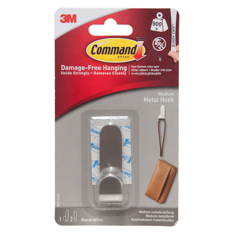 3M Medium Metal Hooks With Command Strips