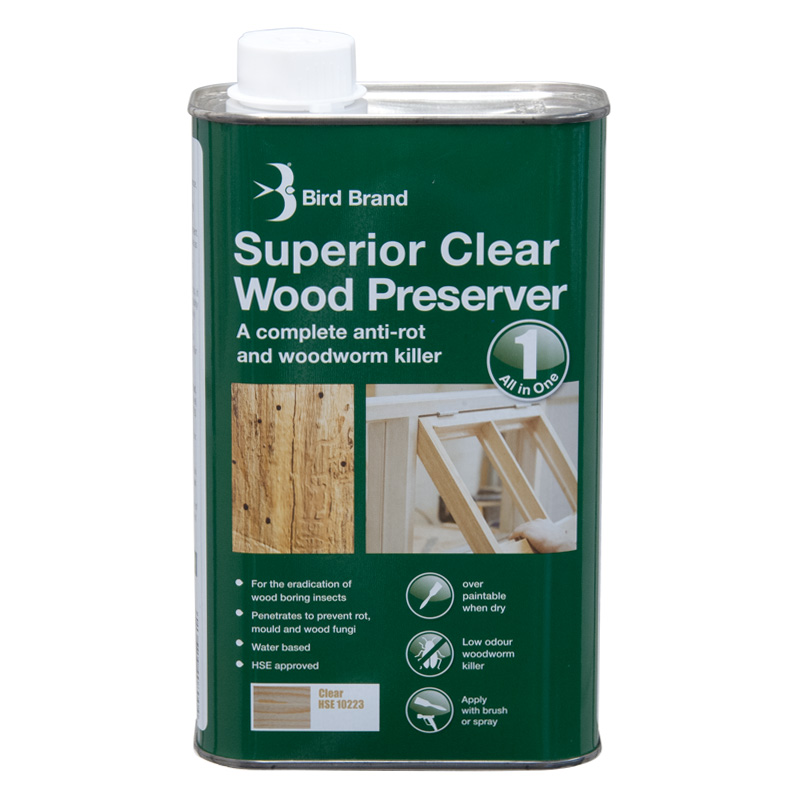 Bird Brand Superior Clear Wood Preserver Woodworm Killer 1Litre