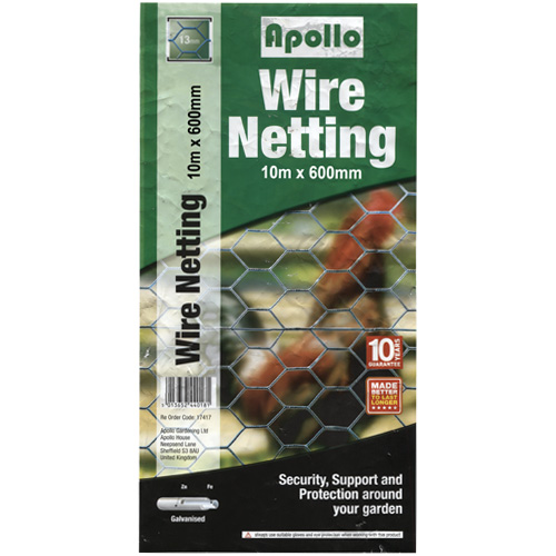 Apollo 10m x 600mm Galvanised Wire Netting (13mm Mesh)