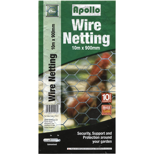 Apollo 10m x 900mm Galvanised Wire Netting (25mm Mesh)
