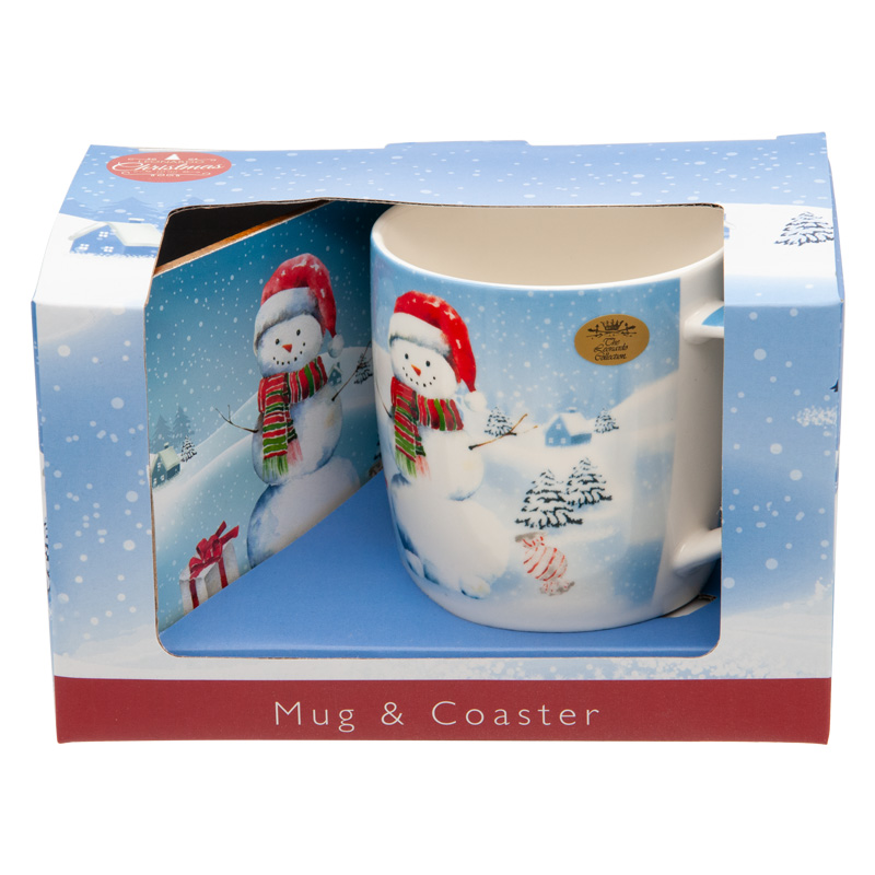 Christmas Snowman Mug and Coaster Set, Gift Boxed