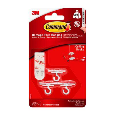 3M Small White Ceiling Hooks With Command Strip - Pack of 3