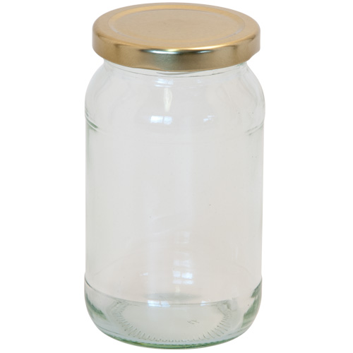 Glass Round 1LB Jam Jar With Screw Top Lid