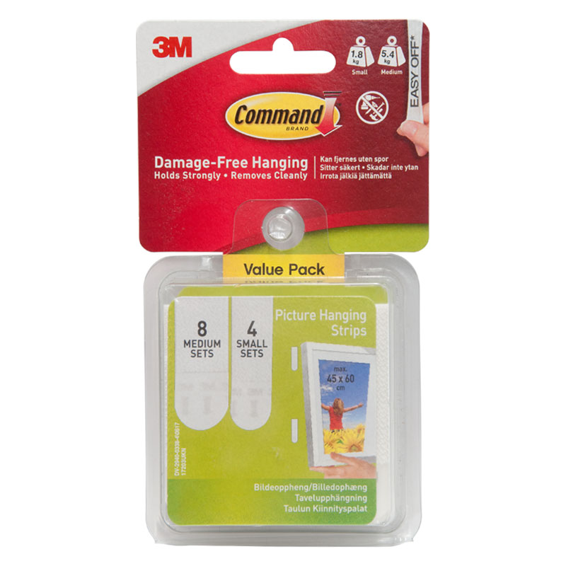 3M Picture Hanging Strips With Command Strips (8 X MED, 4 x SML)