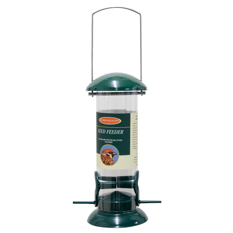 Johnston & Jeff Seed Feeder, 20cm, Green Metal / Polycarbonate