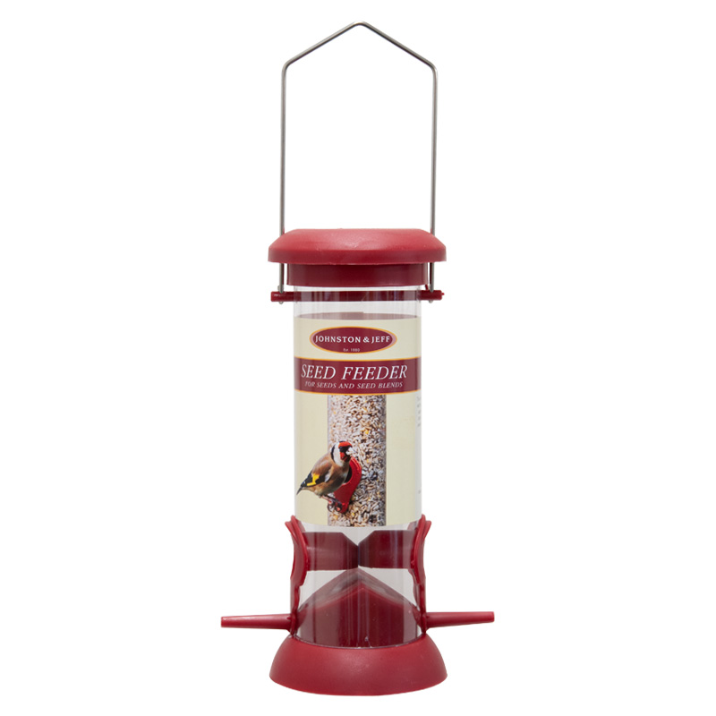 Johnston & Jeff Seed Feeder, 20cm, Red Plastic / Polycarbonate