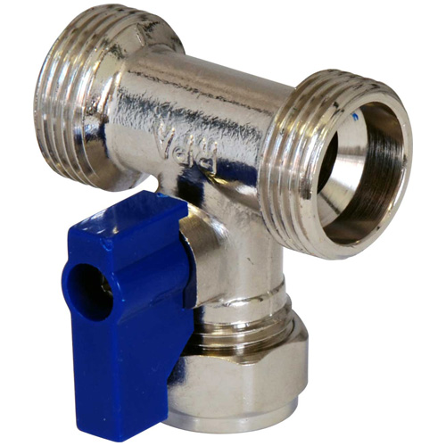 Chrome Dual Appliance Valve - 15mm x 3/4 x 3/4 BSP