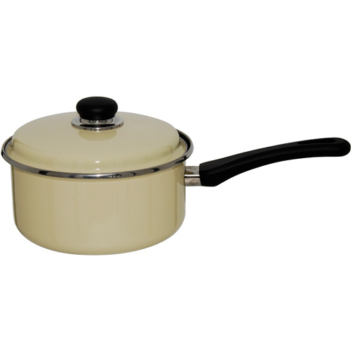 Judge Induction Non Stick Vanilla Enamel Saucepan, 16cm