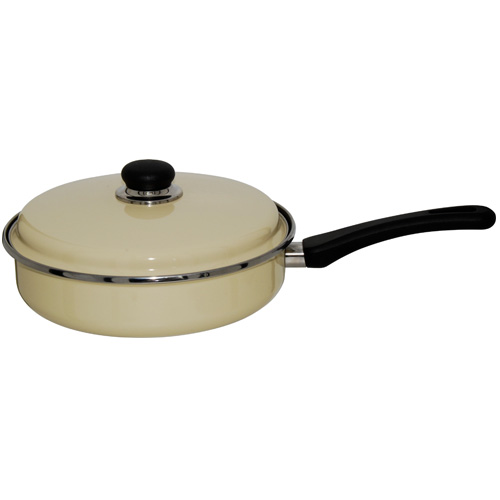 Judge Induction Non Stick Vanilla Enamel Saute Pan, 24cm (JD18)