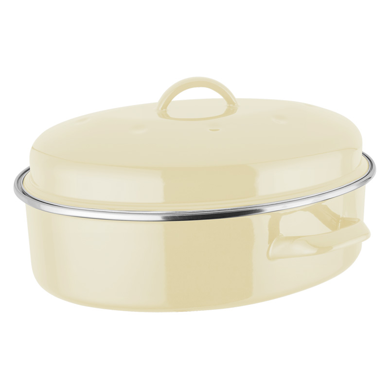 Judge Induction Vanilla Oval Enamel Roaster, 5.2L (JD82)