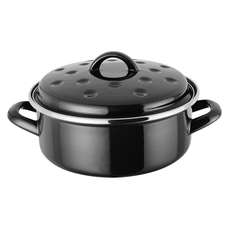 Judge Induction Non Stick Black Round Enamel Roaster, 20cm (JH79)