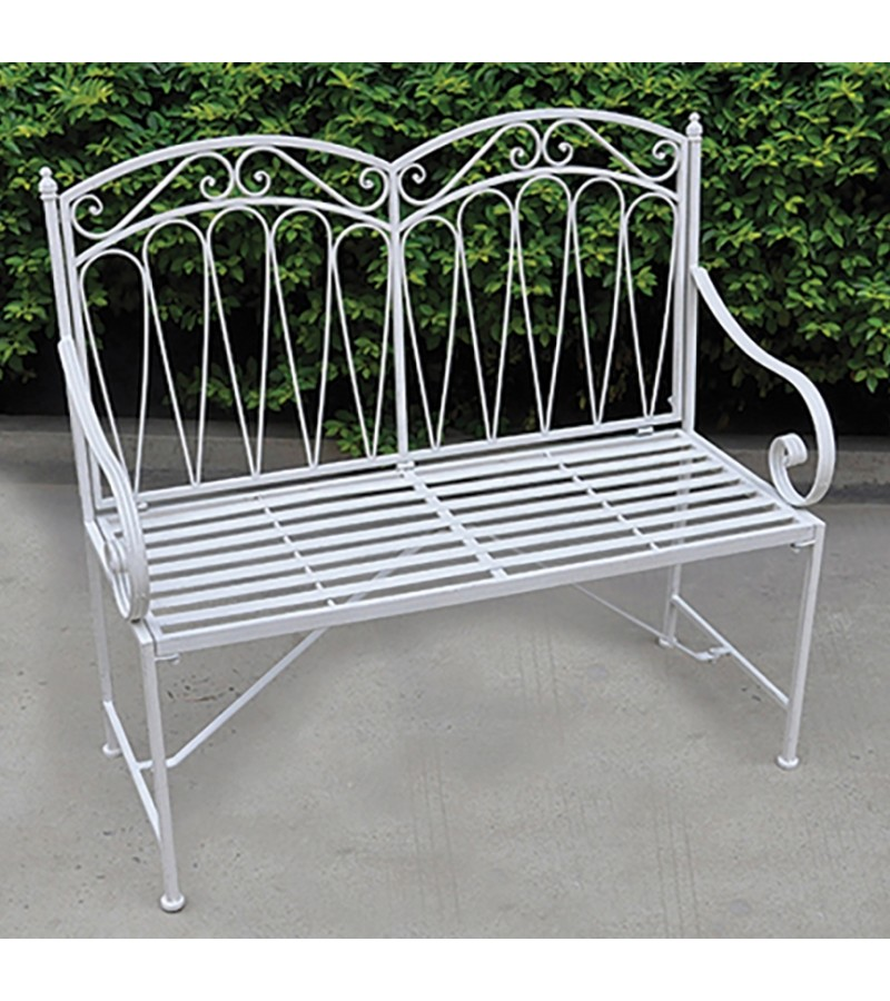 Royalcraft Romance Metal Bench - Antique White.