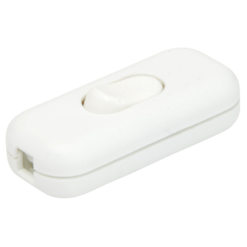 Worldwide Products Inline Switch, 3 Core 6 Amp, White