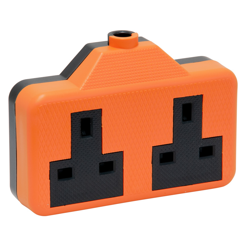 2 Gang Orange Rubber Trailing Socket, 13 Amp