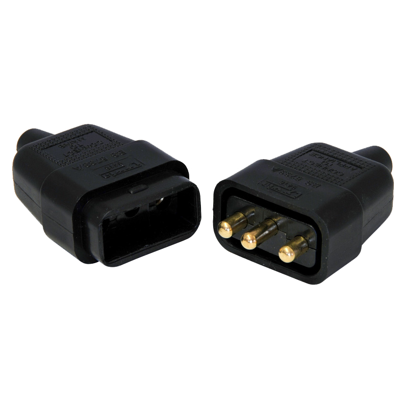3-Pin Black Electrical Pull-A-Part Lead Connector, 10 Amp