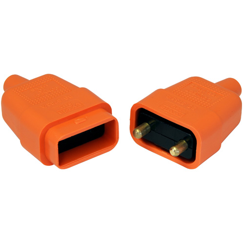 2-Pin Orange Electrical Pull-A-Part Lead Connector, 10 Amp